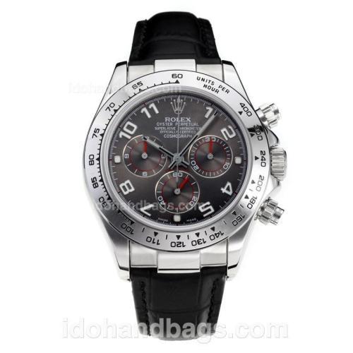 Rolex Daytona Super Luminous Chronograph Swiss Valjoux 7750 Movement with Dark Gray Dial-Leather Strap-Sapphire Glass 187108