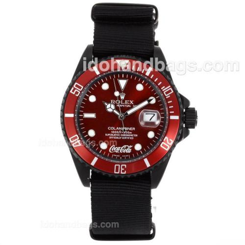 Rolex Submariner Coca Cola Automatic PVD Case with Red Dial and Bezel-Nylon Strap 55868