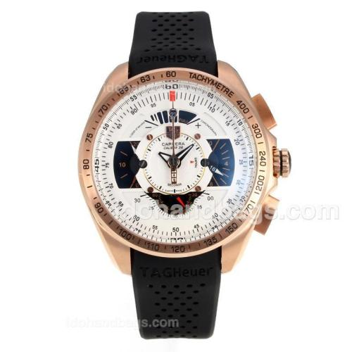 Tag Heuer Carrera Calibre 36 Working Chronograph Rose Gold Case with White Dial-Black Rubber Strap 174578
