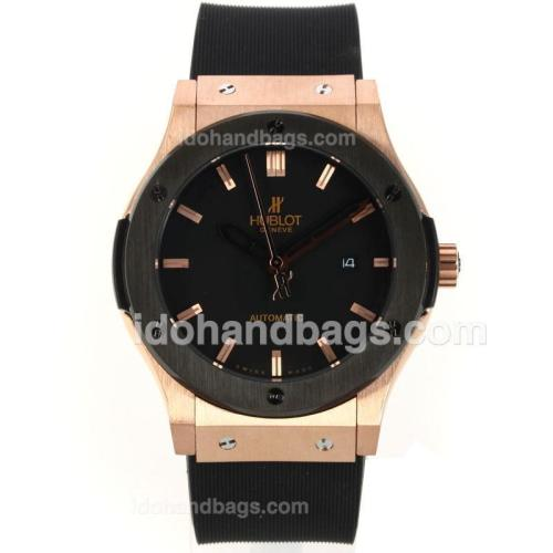 Hublot Classic Fusion Automatic Rose Gold Case PVD Bezel with Black Dial-Rubber Strap 143524