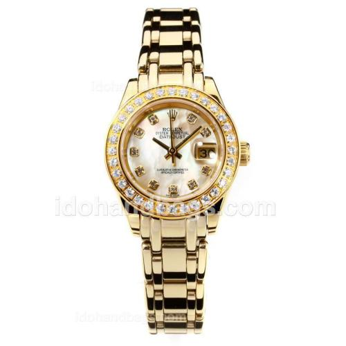 Rolex Masterpiece Automatic Full Gold Diamond Bezel with Apricot MOP Dial-Same Chassis as ETA Version 176404
