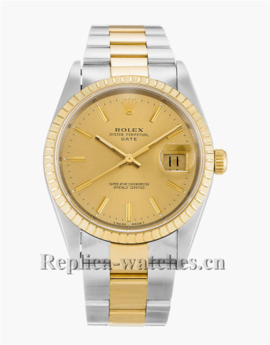 Rolex Oyster Perpetual Date Gold Dial 34MM 15223