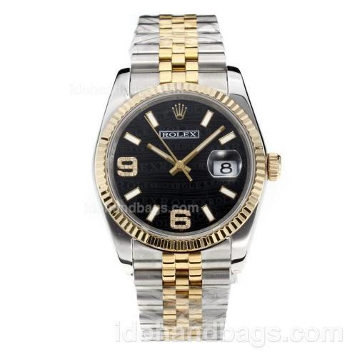 Rolex Datejust Super Luminous Swiss ETA 3135 Automatic Movement Two Tone with Black Dial-Sapphire Glass 187016
