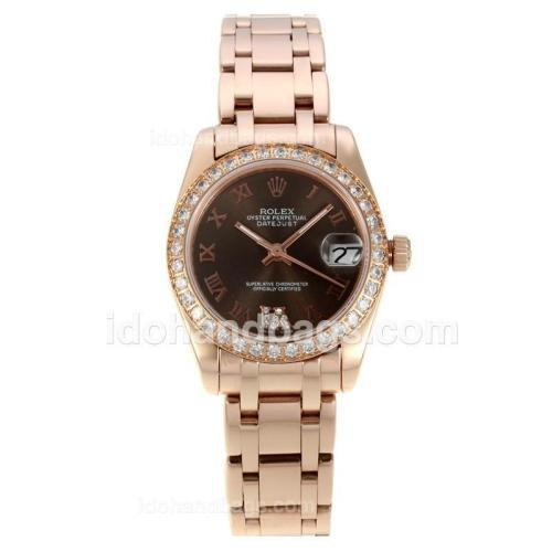 Rolex Masterpiece Automatic Full Rose Gold Diamond Bezel with Brown Dial-Roman Markers 127528