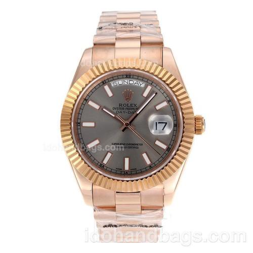 Rolex Day-Date II Swiss ETA 2836 Movement Full Rose Gold Stick Markers with Gray Dial 60267