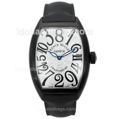 Franck Muller Crazy Hours Automatic PVD Case with White Dial-Rubber Strap 40072