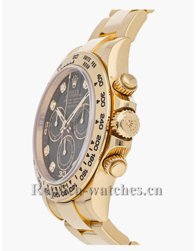 Replica Rolex  Cosmograph Daytona 116508 yellow gold case Black Dial 40mm  Men's Watch