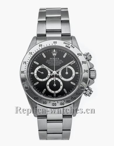 Replica Daytona 16520 Stainless steel strap Black Dial 40mm Mens watch