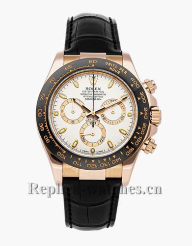 Replica Rolex Cosmograph Daytona 116515LN  Silver dial Black leather strap 40mm mens Watch