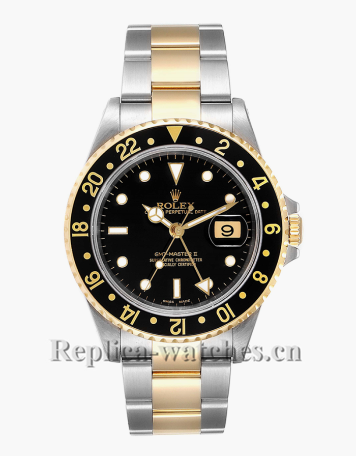 Replica Rolex GMT-Master II 16713LN stainless steel case Black Dial 40mm mens watch