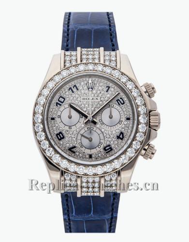Replica Rolex Cosmograph Daytona 116599RBR blue alligator strap White Dial 40mm Mens watch