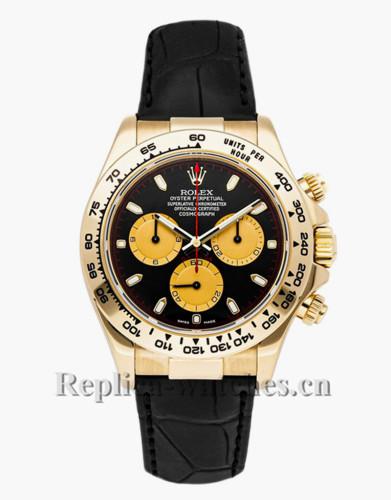 Replica Rolex Daytona 116518 Brown leather strap Black Dial  40mm Mens Watch