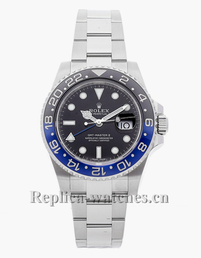 Replica  Rolex GMT-Master II  Batman  116710BLNR stainless steel case black dial 40mm Mens watch
