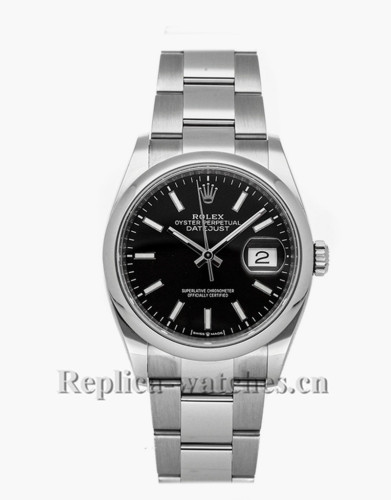 Replica Rolex Datejust 126200 stainless steel case Black Dial 36mm Mens Watch