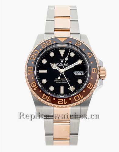 Replica Rolex GMT-Master II 126711CHNR stainless steel case black dial 40mm mens watch