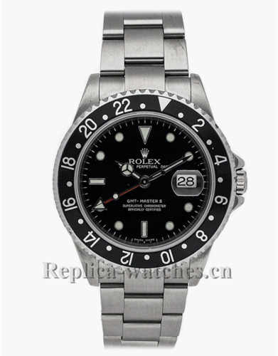 Replica Rolex GMT Master II 16710 stainless steel case black dial 40mm mens watch