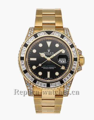 Replica Rolex GMT-Master II 116758SANR  yellow gold case black dial 40mm mens watch
