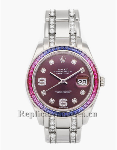 Replica Rolex Pearlmaster Datejust 86349SAFUBL white gold case purple dial 39mm mens watch