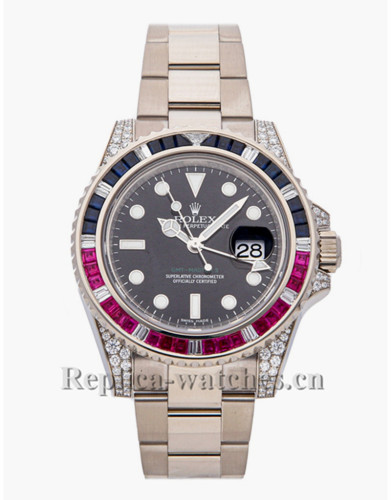 Replica  Rolex GMT Master II 116759SAR white gold case black dial 40mm mens watch