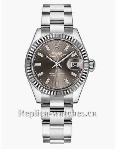 Replica Rolex Datejust 279174 Oyster Bracelet Dark Grey Dial 28mm Womens Watch
