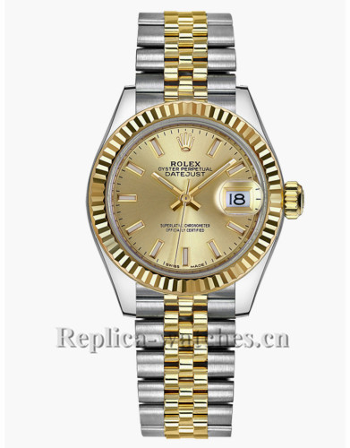 Replica Rolex Datejust 279173 Stainless Steel Case Champagne Dial 28mm Womens Watch