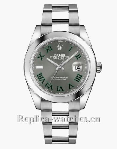 Replica Rolex Datejust 126300 Oyster Bracelet Grey Dial  41mm Mens Watch