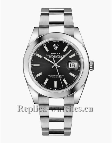 Replica rolex datejust 126300 stainless steel case Black Dial  41mm mens watch
