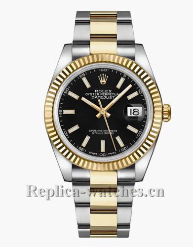 Replica Rolex Datejust 126333  Black Dial Fluted Bezel 41mm Men's Watch