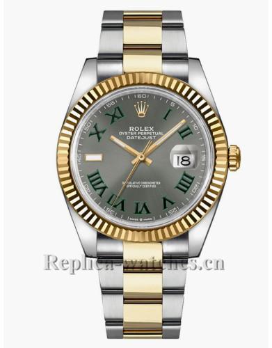 Replica Rolex Datejust 126333 Fluted Bezel Slate Grey Wimbledon Dial 41mm Men's Watch