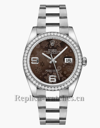 Replica Rolex Datejust 116244 Stainless Steel Case Brown Floral Dial 36mm Unisex Watch