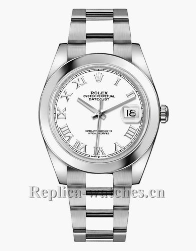 Replica Rolex Datejust 126300 Stainless Steel Case White Roman Dial 41mm  Men's Watch