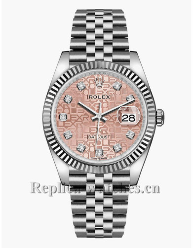 Replica Rolex Datejust 126234 Stainless Steel Case Pink Jubilee Dial 36mm Unisex Watch