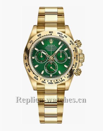 Replica Rolex Cosmograph Daytona 116508 Yellow Gold Case Green Dial 40mm Men's Watch