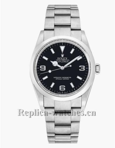 Replica Rolex Explorer 114270 Stainless Steel Case Black Dial 36mm Men's Watch