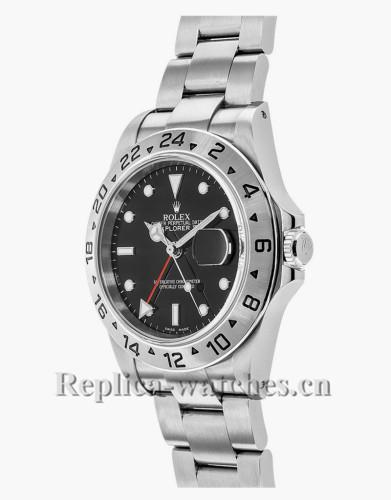 Replica Rolex Explorer II 16570  Stainless Steel Case Black Dial 40mm Men's Watch