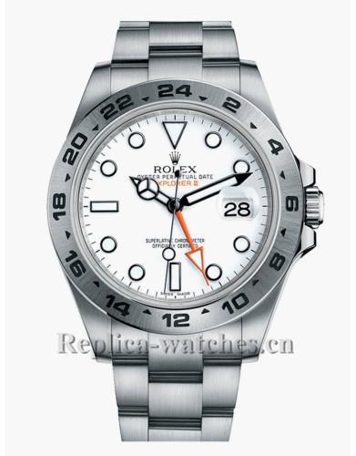 Replica Rolex Explorer II 216570 Stainless Steel Case White Dial 42mm Men's Watch
