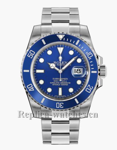 Replica  Rolex Submariner Date 116619LB White Gold Blue Dial 40mm Men's Watch