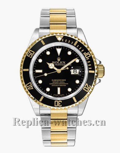 Replica Rolex Submariner Date 16613LN Steel Oyster Bracelet Black Dial Men's Watch