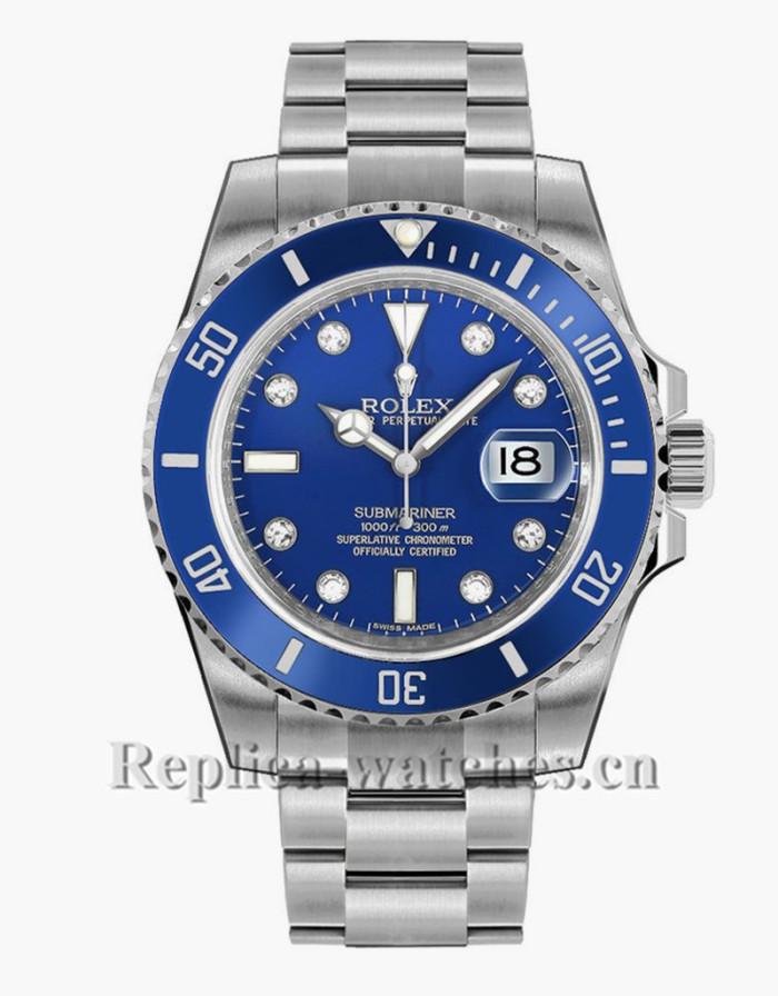 Replica  Rolex Submariner Date 116619 White Gold Case Blue Dial Mens Watch