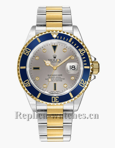 Replica Rolex Submariner Date 16613 Stainless Steel Case Silver Dial 40mm Men's Watch