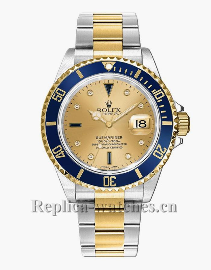 Replica Rolex Submariner Date 16613 Stainless Steel Case Serti Dial 40mm Men's Watch