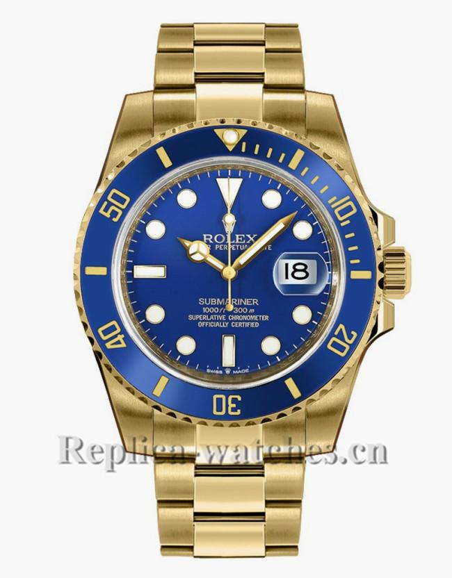 Replica Rolex Submariner Date 126618LB  Yellow Gold Oyster Bracelet Blue Dial 41mm Men's Watch