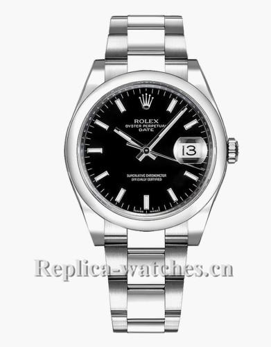 Replica Rolex Oyster Perpetual Date 115200 Steel Oyster Bracelet 34mm Black Dial Luxury Watch
