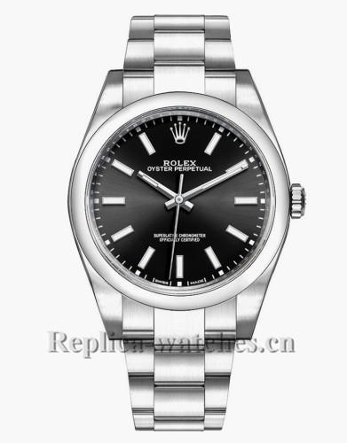 Replica Rolex Oyster Perpetual 114300 Steel Oyster Bracelet 39mm Black Dial Men's Watch