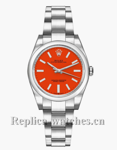 Replica Rolex Oyster Perpetual 277200 Steel Oyster Bracelet 31mm Coral Red Dial Lady's Watch