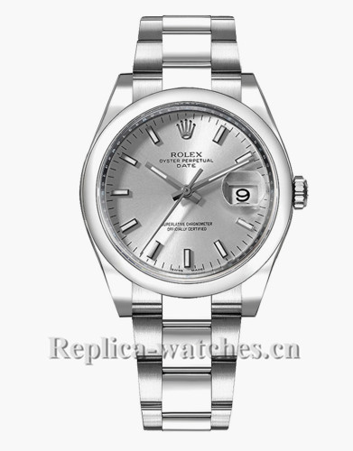Replica Rolex Oyster Perpetual Date 115200 Steel Oyster Bracelet 34mm Silver Dial Lady's Watch
