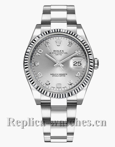 Replica Rolex Oyster Perpetual Date 115234 Steel Oyster Bracelet 34mm Silver Dial Lady's Watch