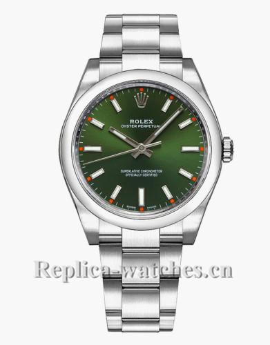 Replica Rolex Oyster Perpetual 114200 Steel Oyster Bracelet 34mm Green Dial Luxury Watch