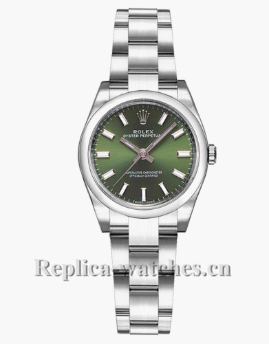 Replica Rolex Oyster Perpetual 176200 Oyster Bracelet 26mm Green Dial Lady's Watch