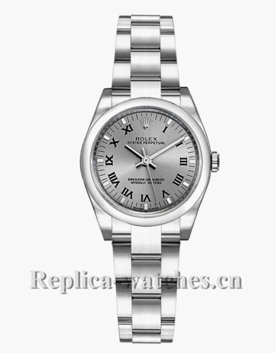 Replica Rolex Oyster Perpetual 176200 Oyster Bracelet 26mm Grey Dial Lady's Watch